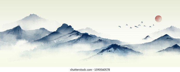 Blue ink landscape painting with ink dots,Oriental ink painting,Blue Mountain ink illustration,