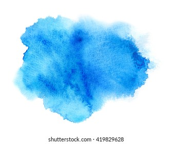 Blue ink stain with wash. Watercolor