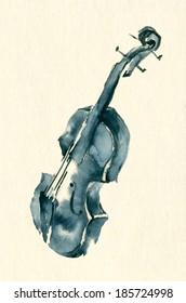 Blue ink or watercolor sketch illustration of a violin