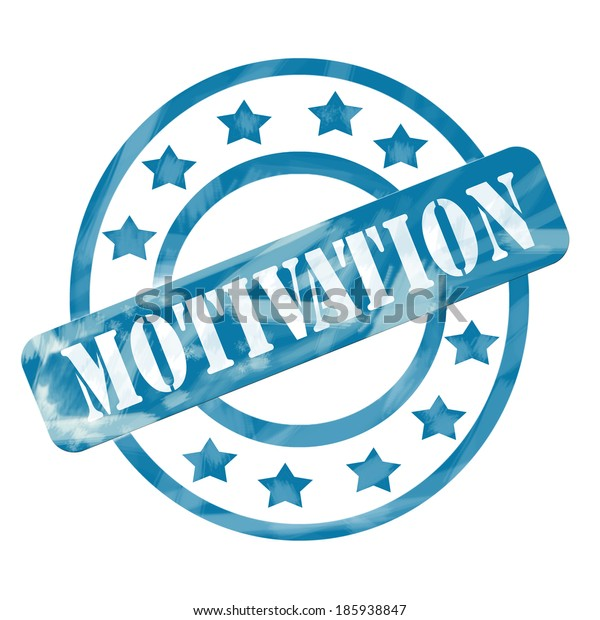 A blue ink weathered roughed up circles and stars stamp design with the word MOTIVATION on it making a great concept.