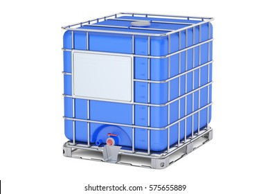 Blue intermediate bulk container closeup, 3D rendering isolated on white background