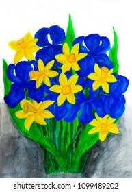 Blue irises and yellow daffodiles