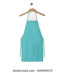 blue isolated apron 3d rendering