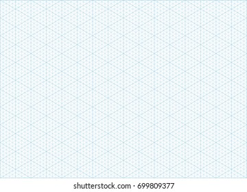 Blue isometric grid graph paper accented every 5 steps A4 landscape oriented background