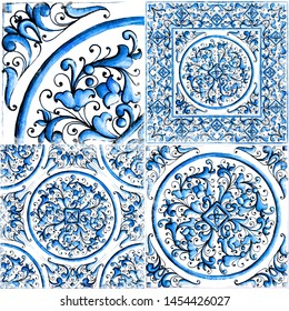 Blue Italian majolica,watercolor illustration Italian majolica decoration on ceramic tile.