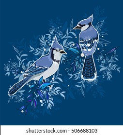 Blue Jay bird Illustration, birds illustration. Hand Drawn Illustration of birds. A beautiful illustration of a winter bird. winter illustration. Two birds sitting on branches illustration