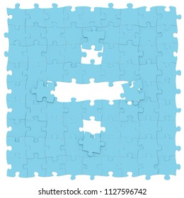 Blue jigsaw puzzles assembled like mathematical operation symbol of division, obelus on white background, puzzle board may be seamless connected along borders, 3D rendered image for math typography