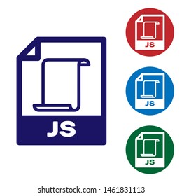 Blue JS file document icon. Download js button icon isolated on white background. JS file symbol. Set color icon in circle buttons