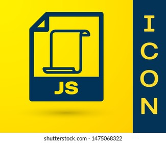 Blue JS file document icon. Download js button icon isolated on yellow background. JS file symbol