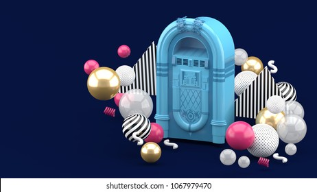 Blue jukebox among colorful balls on a blue background.-3d render.