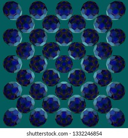 Blue kaleidoscope buckyballs pattern, abstract geometrical background. 3d illustration