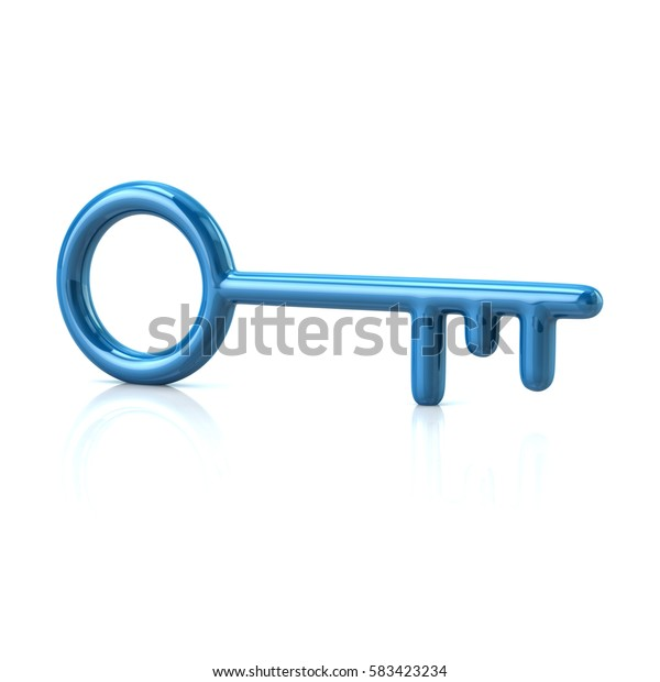 Blue key icon 3d rendering on white background
