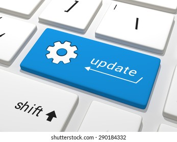 A blue key related to software upgrades on a white keyboard containing the text update. 3D Illustration