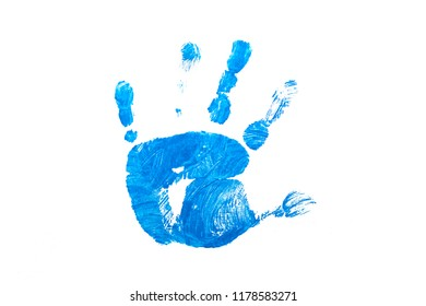 Blue kid hand print on white isolated