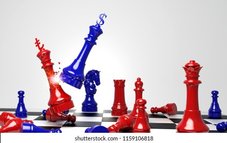 Blue king chess attack red king chess with dollar and lira turkish sign logo. Design creative illustration for USA and Turkey money financial crisis. 3D rendering illustration.