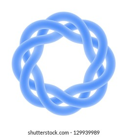Blue knot with eight bends isolated on white. Can be used as a logo
