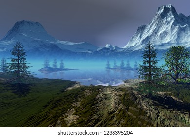 Blue lagoon, 3d rendering,  an alpine landscape, coniferous trees, snowy mountains and a cloudy sky.