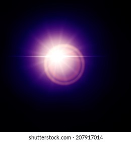 Blue lens flare effect, sun light flare isolated on black background. Can be added to photos by overlaying in screen mode.