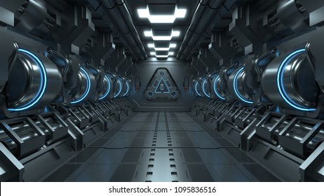 Blue light corridors interior design , sci-fi spaceship Future concept. 3D Rendering