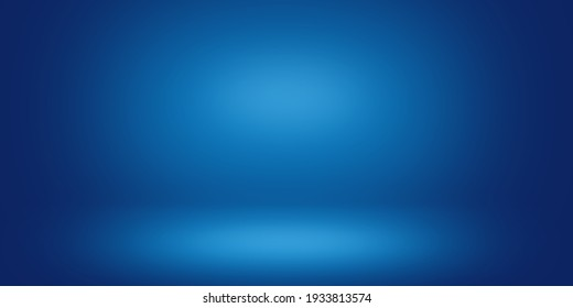 Blue light gradient wall background and floor, Effect cool tone wallpaper, Diffused beam of light.