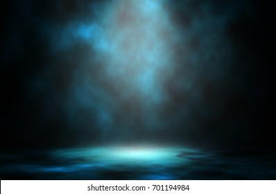 Blue light smoke spotlight stage background.