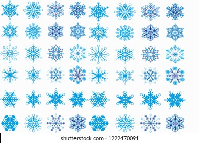 blue and light blue snowflake texture with white background