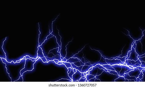 blue lighting thunder storm illustration on dark background