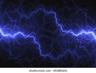 Blue lightning, abstract power and plasma background