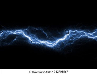 Blue lightning on black background