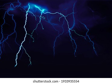 Blue Lightning Thunderstorm Storm Weather Illustration in Night