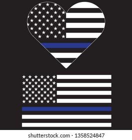 Blue Line Police Support Flag Vector