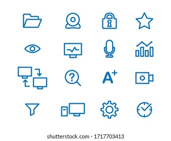Blue linear monitoring icons. Set of modern icons for test supervision online.