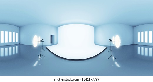 blue lit HDRI environment map, abstract spherical panorama background with photo studio setup (3d equirectangular render)