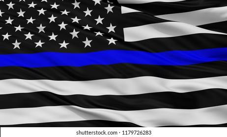 Blue Lives Matter Closeup Flag, 3D Rendering
