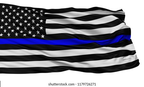 Blue Lives Matter Isolated Flag With White Background, 3D Rendering
