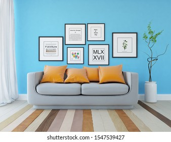 Blue living room interior with furniture on a wooden floor, frames on a large wall, white landscape in window with curtains. Home nordic interior. 3D illustration