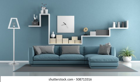 Blue living room with sofa and shelf - 3d rendering