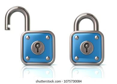 Blue lock and unlock padlock 3d illustration on white background