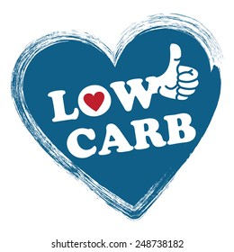 Blue Low Carb Heart Shape Sticker, Icon or Label Isolated on White Background