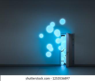 Blue luminescent balloons fly away through open door in a dark room. 3D render