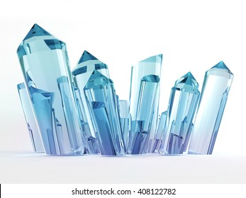 Blue and magenta gradient crystals isolated on white background, 3d illustration.
