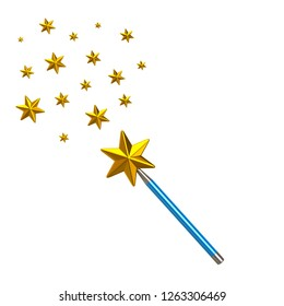 Blue magic star wand with stars 3d illustration isolated on white background