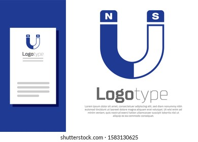 Blue Magnet icon isolated on white background. Horseshoe magnet, magnetism, magnetize, attraction sign. Logo design template element.