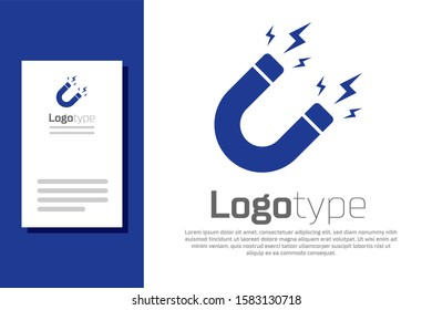 Blue Magnet with lightning icon isolated on white background. Horseshoe magnet, magnetism, magnetize, attraction sign. Logo design template element.