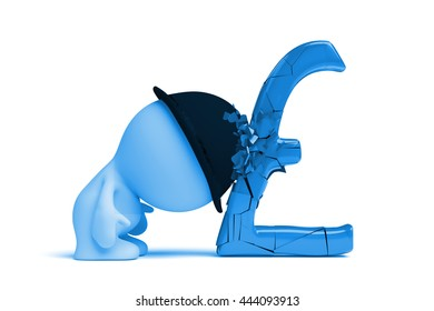 blue man with bowler hat breaks a huge pound sign with his head (3d illustration)