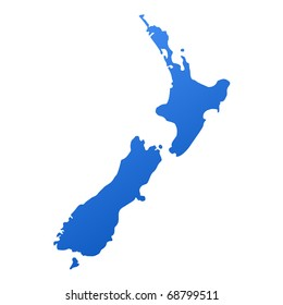 Blue map of New Zealand, isolated on white background with clipping path.