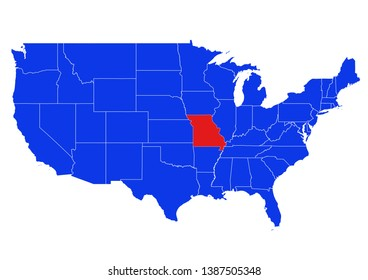 Blue map of the United States, with the State of Missouri highlighted in Red.