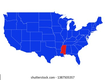 Blue map of the United States, with the State of Mississippi highlighted in Red.