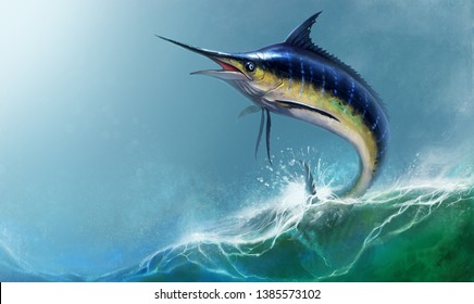 Blue marlin in the ocean realistic illustration. Blue marlin swordfish jumping out of the waves against the sky.