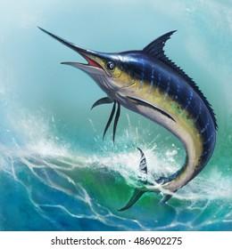 Blue marlin in the ocean realistic illustration.